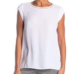 DR2 Womens Blouse XL White Crotchet Detail Sheer